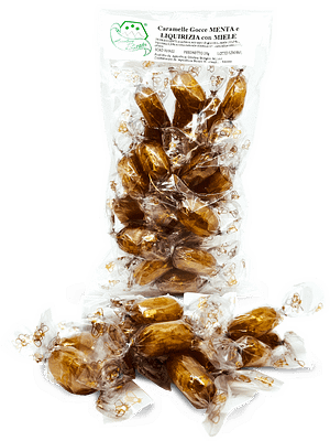 caramelle gocce di menta e liquirizia con miele